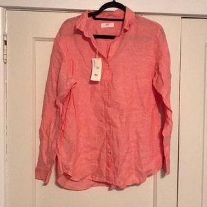 Light orange/pink linen collared shirt